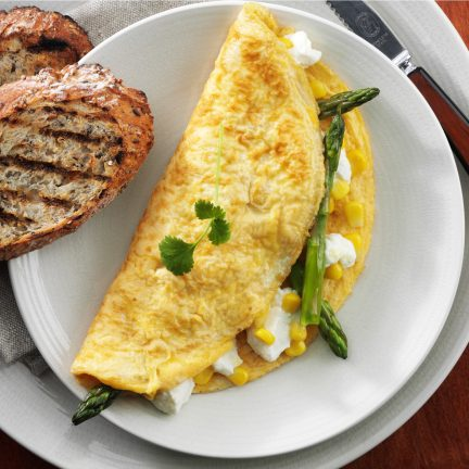 Asparagus sweet corn and cheese omelette