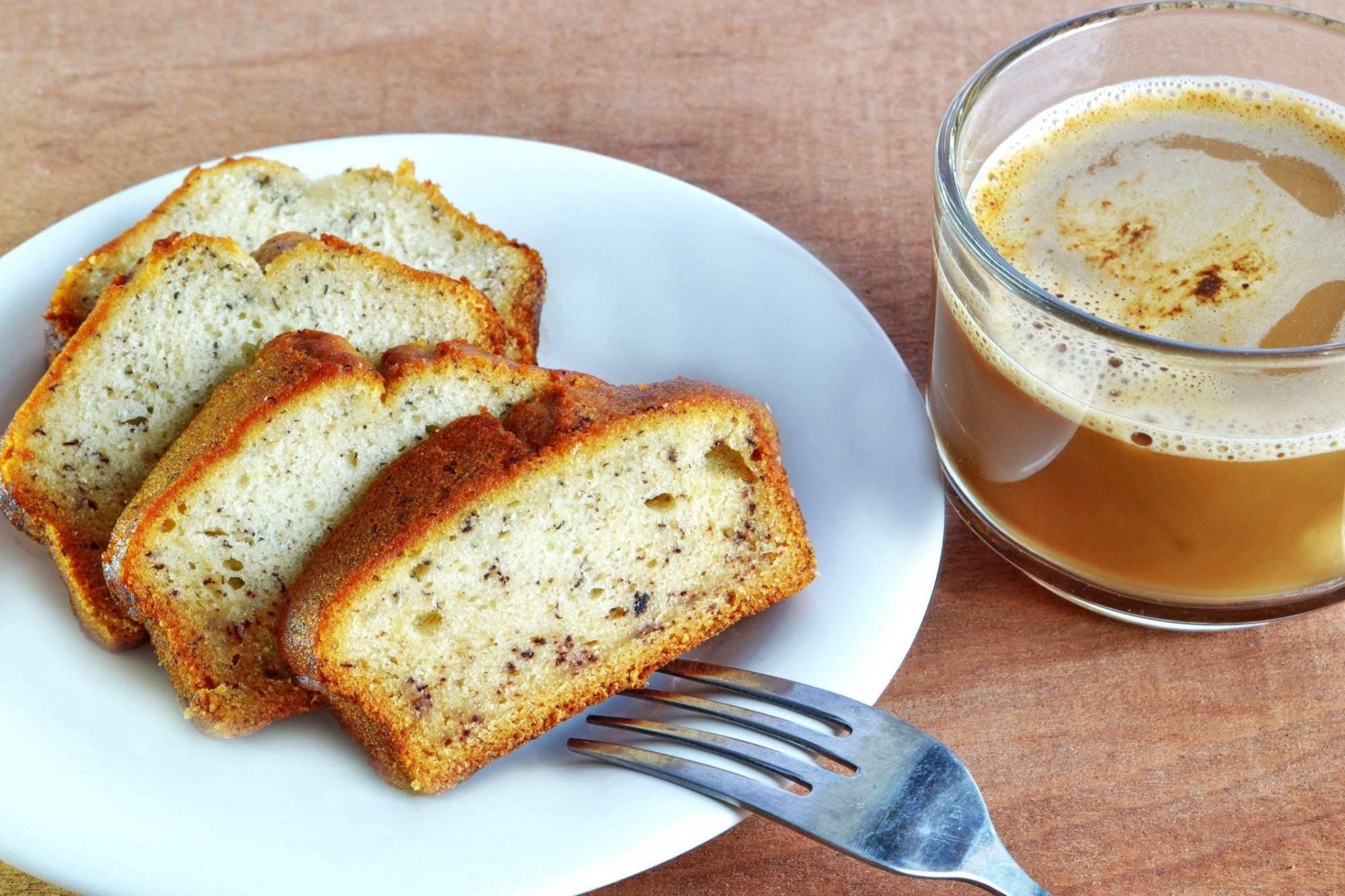 banana cake and a cup of coffee. Farm Pride Eggs Recipe