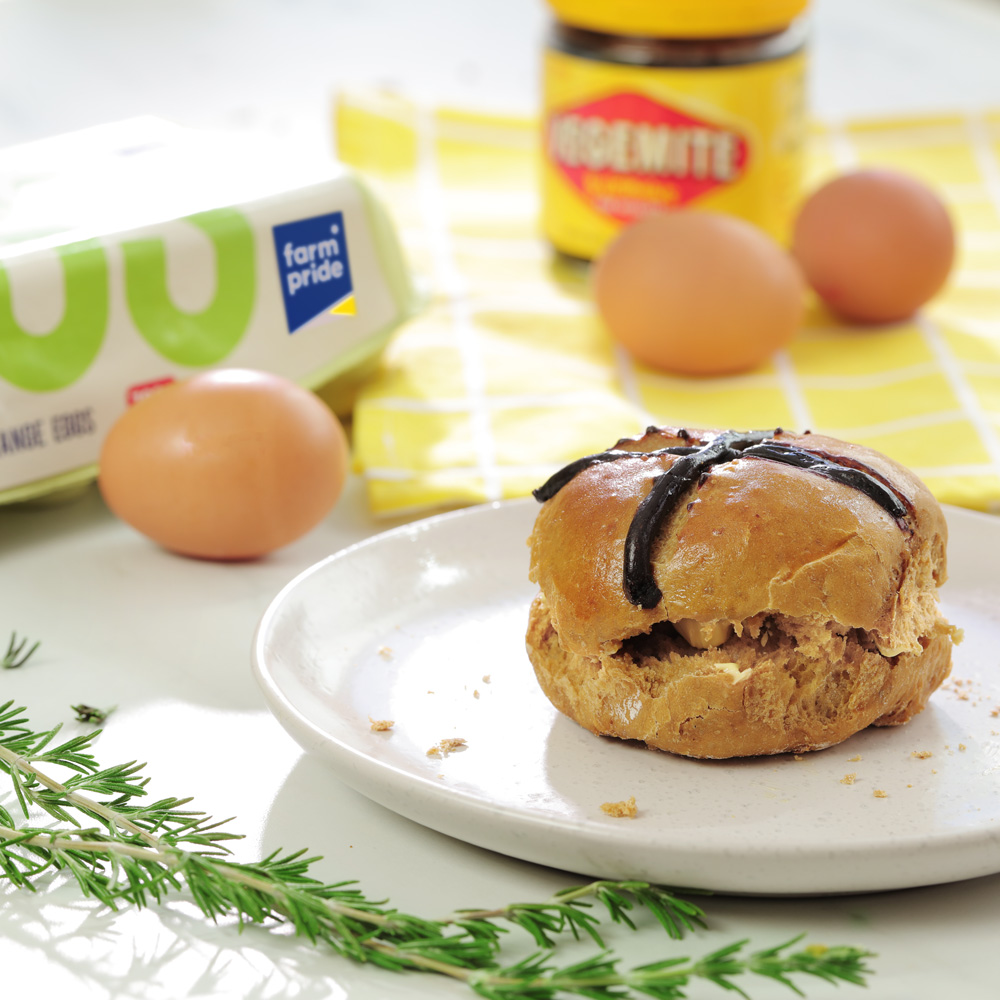 cheesey Vegemite hot cross bun